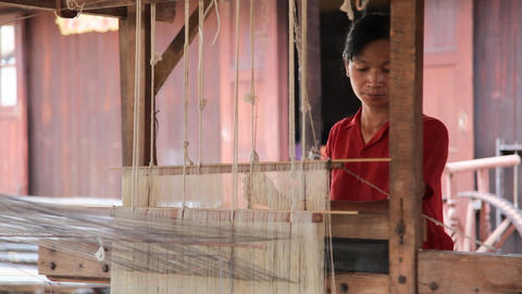 Weaving workshop on Inle lake Footage