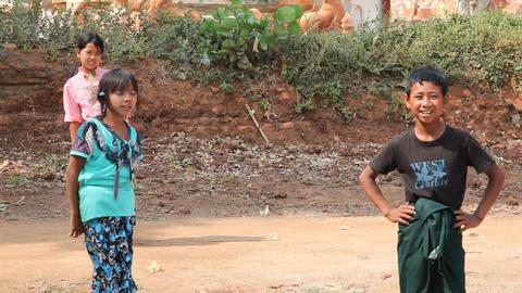 Children in Takhaung Mwetaw Paya pagoda, Inle lake Footage