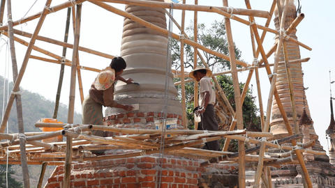 Restoration work in Takhaung Mwetaw Paya pagoda, Inle lake Footage