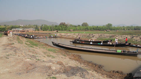 Boats at the Taung Tho Market Stock Video Footage