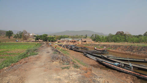 Boats at the Taung Tho Market Footage