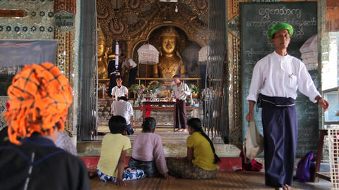 Visitors inside Taung Tho Pagoda Footage