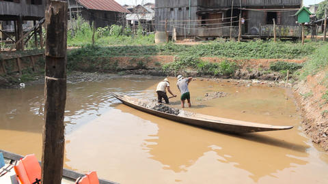 Inle workers edit 6802 HD Stock Video Footage
