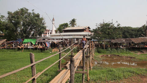 Bridge at the Ywama Market Footage