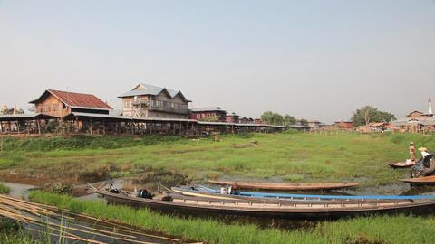 Panorama of Ywama market Footage