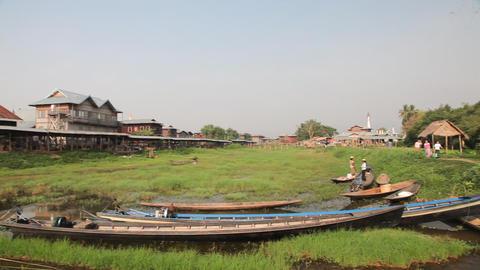 Panorama of Ywama market Stock Video Footage