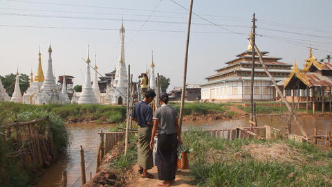 Bridge at the Ywama pagoda Stock Video Footage