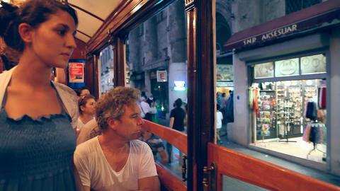 Tunnel - Taksim tram Stock Video Footage