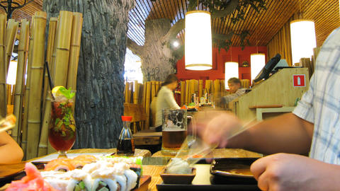 Diner in Japan restaurant timelapse Stock Video Footage