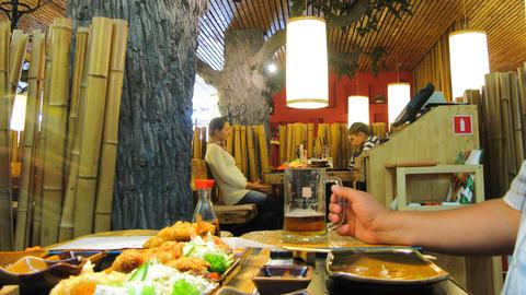 Diner in Japan restaurant timelapse Stock Video Footage