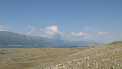 Mountain lake Khoton Nuur in Mongolian Altai Stock Video Footage