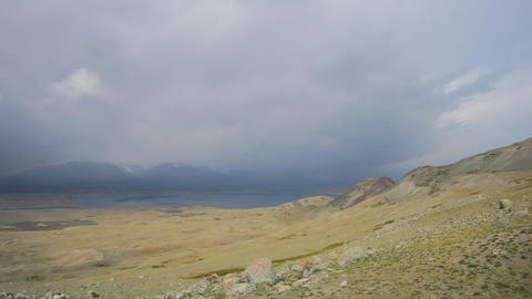 Timelapse Mountain lake Khoton Nuur in Mongolian Altai Stock Video Footage