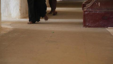 People walking Inside temple in Bagan Stock Video Footage