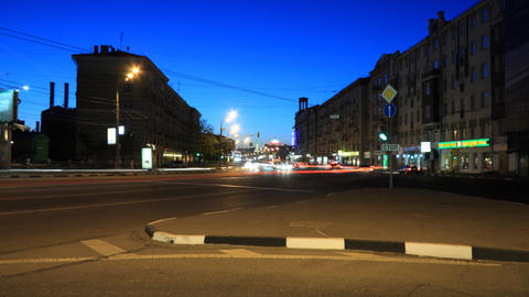 Moscow night street timelapse Stock Video Footage