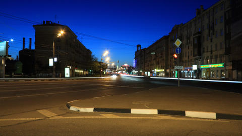 Moscow night street timelapse Footage