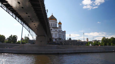 Travel along Cathedral of Christ the Saviour in Moscow Footage