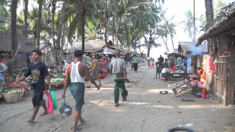 Fishing village market Stock Video Footage