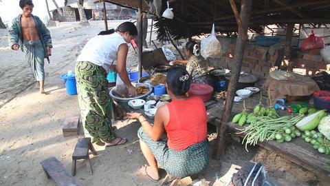 Fishing village market Stock Video Footage