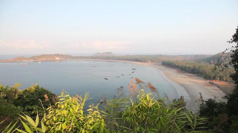 Ngapali fishing villege bay sunrise 7716 HD Stock Video Footage