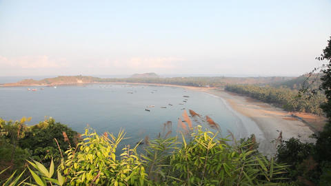 Ngapali fishing villege bay sunrise 7716 HD Footage