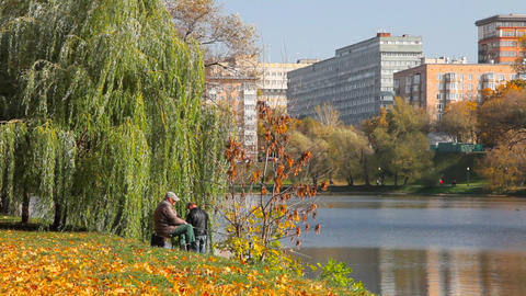 Fisherman at Novodevichy Convent pond Stock Video Footage