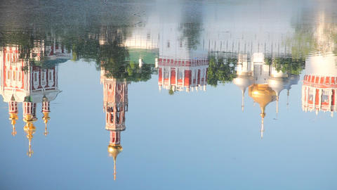 Reflection of Novodevichy Convent during sunrise Stock Video Footage