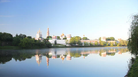 Novodevichy Convent sunrise Stock Video Footage