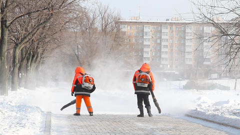 Janitors at Novodevichy Convent pond Stock Video Footage