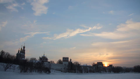 Novodevichy Convent sunset timelapse Stock Video Footage