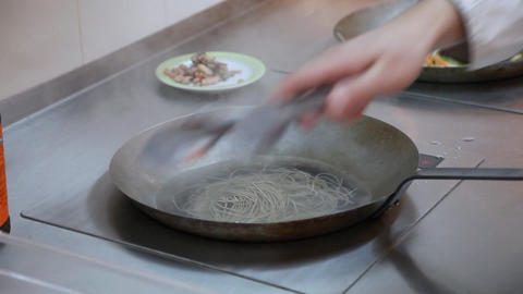 Pan with noodles Stock Video Footage