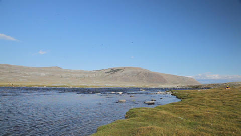 Rapid stream at Khoton Nuur lake Stock Video Footage