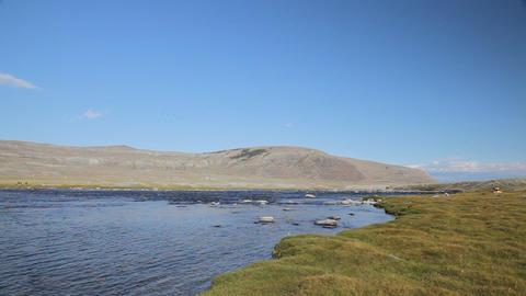 Rapid stream at Khoton Nuur lake Footage