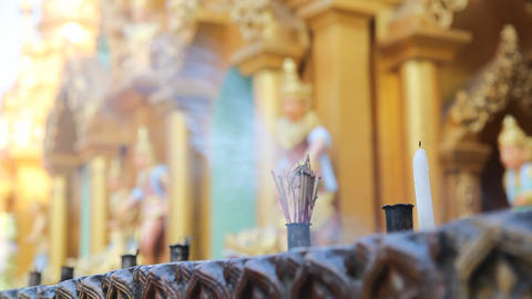 Candles in Shwedagon Pagoda Footage