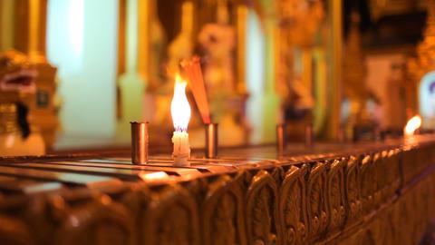 Candles in Shwedagon Pagoda Footage
