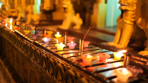 Candles in Shwedagon Pagoda Stock Video Footage