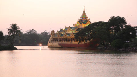 Kan Daw Gyi lake sunset Stock Video Footage