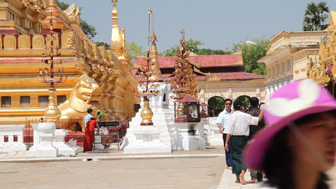Visitors in Shwezigone Pagoda Stock Video Footage