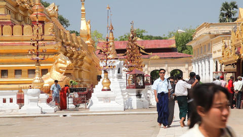 Visitors in Shwezigone Pagoda Footage