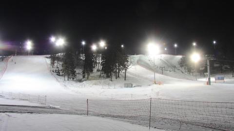 Skiing resort night timelapse Stock Video Footage