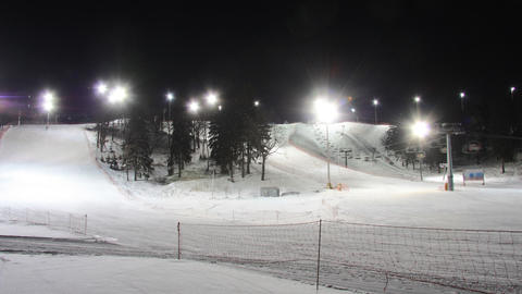 Skiing resort night timelapse Footage
