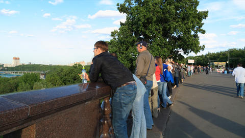 Tourists on Viewpoint in Moscow Footage