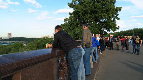 Tourists on Viewpoint in Moscow Stock Video Footage