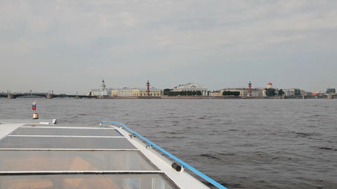 Travel along Neva river in St. Petersburg , Russia Footage