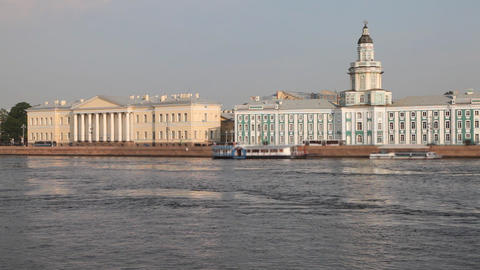 Neva river and Kundskamera building in St. Petersburg , Russia Footage