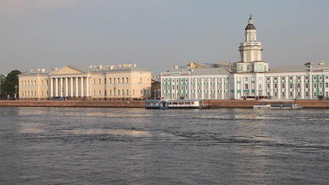 Neva river and Kundskamera building in St. Petersburg ,... Stock Video Footage