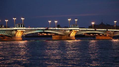 Blagoveshensky bridge over Neva river in St. Petersburg Stock Video Footage