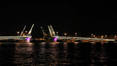 Blagoveshensky bridge over Neva river in St. Petersburg Footage