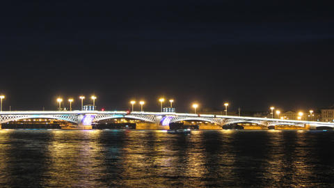 Blagoveshensky bridge over Neva river in St. Petersburg... Stock Video Footage