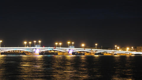 Blagoveshensky bridge over Neva river in St. Petersburg... Stock Video Footage