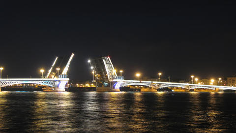 Blagoveshensky bridge over Neva river in St. Petersburg timelapse Footage